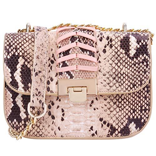 PACO TORA Crossbody Bags for Women PU Leather Handbags Snakeskin Pattern Shoulder bag Chain Bags - Urban Safari Collection (Small, Snakeskin Pattern)