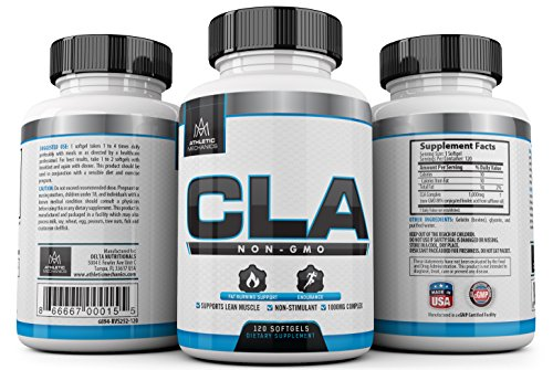 Athletic Mechanics - CLA - Non-GMO, Non-Stimulant - 1,000mg - Fat Burner for Fat Loss/Weight Loss, Endurance, Antioxidant, Anticarcinogen, Preserves Lean Muscles, 120 Softgels.