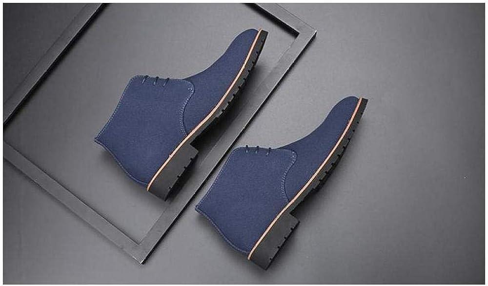 Wsreyj Chaussures À Lacets Homme De Plus, Les Bottes en Coton De Velours pour Hommes À Grosse Tête sont Équipées De Bottes Martin Bleu