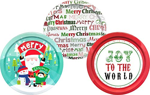 Snowman Decorative Plates - ALEF Christmas/Holiday 13.5 Decorative Tin Plates (Set of 3)