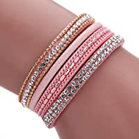 AutumnFall® Women Bohemian Bracelet Woven Braided Handmade Wrap Cuff Magnetic Clasp (Pink)