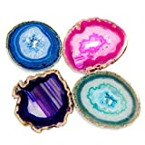 JIC Gem Extra Mixed Color 4-5 inch Natural Sliced Agate Coaster with Free Rubber Bumper Set of 4
