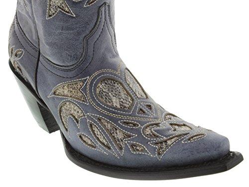 Cowboy Da Donna Professionale Denim Blu In Pitone Con Intarsio In Pelle Stivali Da Cowboy In Denim Blu