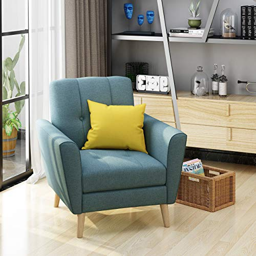 Christopher Knight Home 303696 Angelina Mid Century Blue Fabric Club Chair,