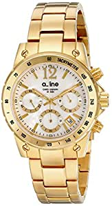 a_line Women's AL-80020-YG-22MOP Liebe Chronograph White Mother-Of-Pearl Dial Gold Ion-Plated Stainless Steel Watch