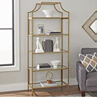 Better Homes and Gardens Nola 5-Open Shelves Bookcase, Gold Finish