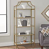 Bookcase with Gold Finish Open Shelving for Storage and Display Safety-tempered Glass Metal Construction