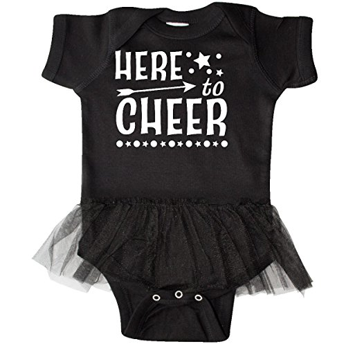 Infant Black Cheer Dress (inktastic Here To Cheer- Cheerleading With Infant Tutu Bodysuit Newborn Black)