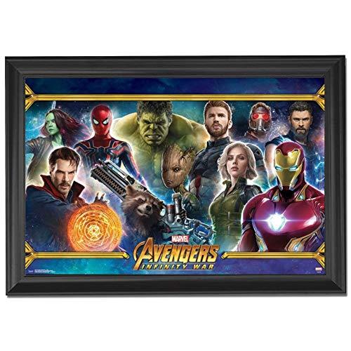 Avengers Infinity War Marvel Movie Wall Art Decor Framed Print | 24x36 Premium (Canvas/Painting Like) Textured Poster | Spiderman, Iron Man & Thor | Superhero Comic Fan Gifts for Guys & Girls Bedroom