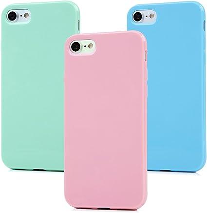 3x Cover iPhone 7 Silicone, Custodia iPhone 8 Morbido TPU Flessibile Gomma - MAXFE.CO Case Ultra Sottile Cassa Protettiva per iPhone 7/8 4.7