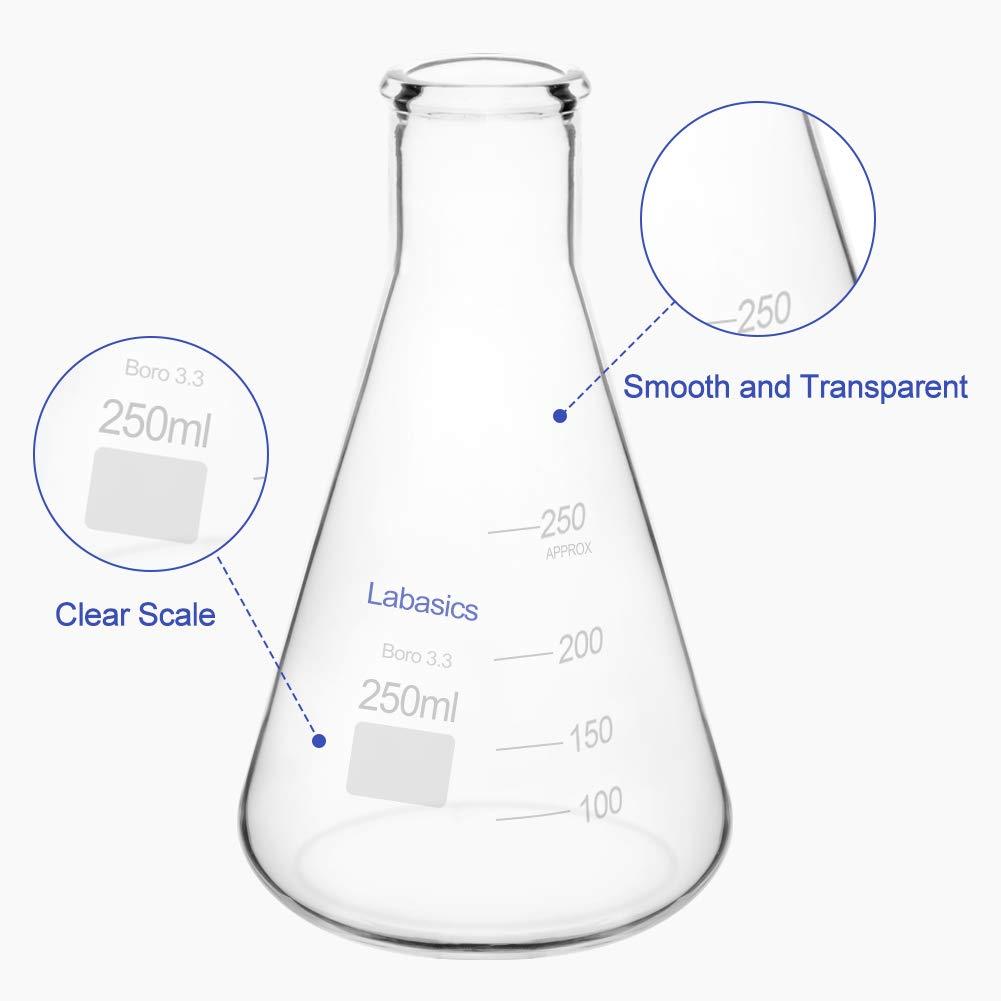 2 L Borosilicate Glass Heavy Wall Flask with Heavy Duty Rim Labasics Glass Narrow Mouth Erlenmeyer Flask