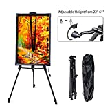 Hosim 61'' Tall Aluminum Metal Tripod Display Stand Triangular Easel,Adjustable Height from 22''-61'' for LED Writing Board Whiteboard Chalkboard Paintings(Carrying Bag Included)