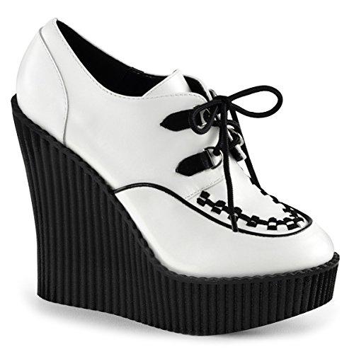 Womens White Wedges Shoes Platform Booties Vegan Leather Creepers Shoes 5 ¼ in