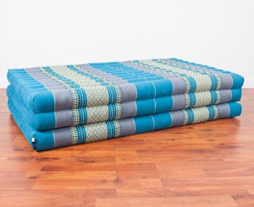 Lounge Mat (Leewadee Thai Massage Mat XL, 82x46x3 inches, Kapok Fabric, Blue, Premium Double Stitched)