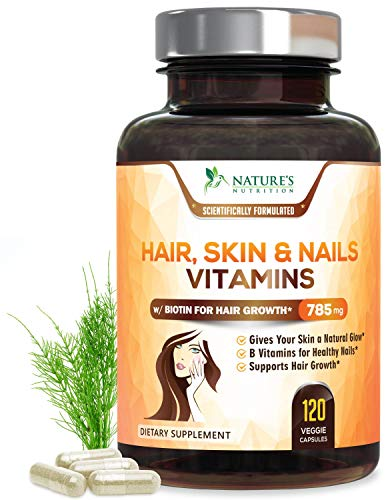 Hair Skin & Nails High Potency Biotin Vitamin Complex - Best Hair Vitamins - Made in USA - Vitamin C & E for Faster Hair Growth, Glowing Skin & Healthier Stronger Nails for Women - 120 Capsules