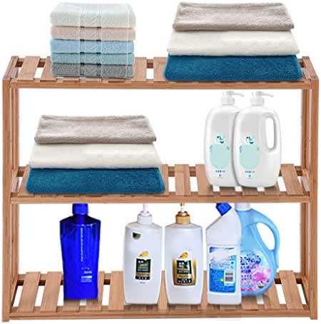 Zicth Bamboo Shelves for Bathrooms, Bathroom Utility Storage Shelf Organizer Holder, 3-Tier Adjustable Storage Shelf, Bathroom Kitchen Living Room Shelf, Bamboo Wall Shelves