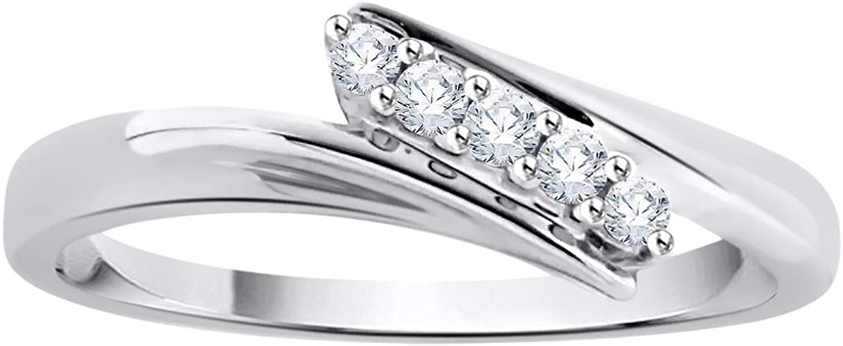 1//10 cttw, Size-6 G-H,I2-I3 Diamond Wedding Band in Sterling Silver