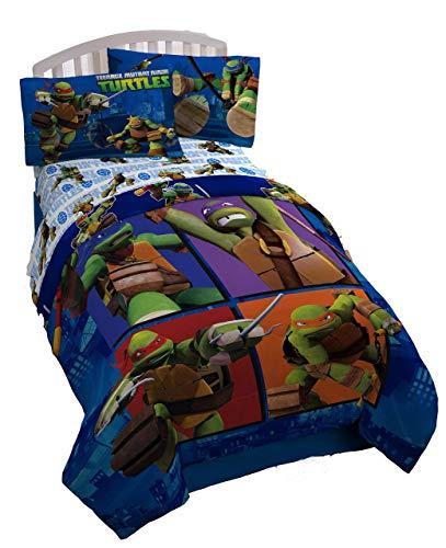 Nickelodeon Teenage Mutant Ninja Turtles City Limits Reversible Twin Comforter with Leonardo, Donatello, Michelangelo & Raphael (Official Nickelodeon Product) ()