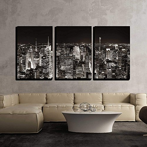 New York City Midtown Skyline Panorama with Skyscrapers and Urban Cityscape at Night x3 Panels