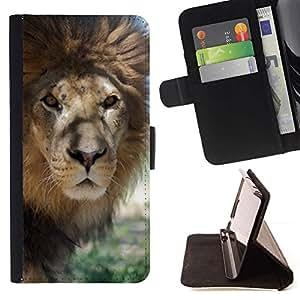 For Sony Xperia Z3 D6603 Case , Lion Beige Naturaleza Savannah Animal Rey- la tarjeta de Crédito Slots PU Funda de cuero Monedero caso cubierta de piel