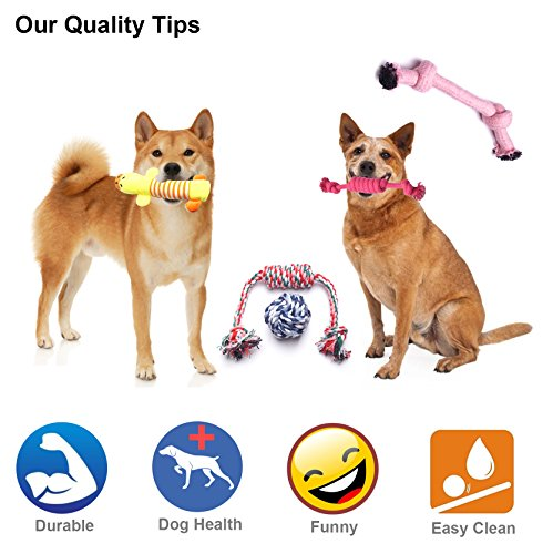 YUNKINGDOM (Pack of 12) Dog Rope Toys Squeaky Plush Dog Toys,Dog Chew Toys Set for Puppies and Small Dogs(Pack of 12) by YUNKINGDOM (Image #2)
