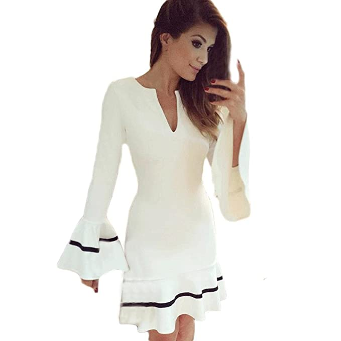 tenworld para mujer túnica fiesta manga larga Sexy Bodycon corto Mini vestido