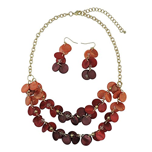 Bocar 2 Layer Statement Choker Shell Necklace and Earring Set for Women Gift -