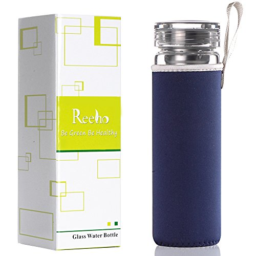 Reeho 17 Ounce BPA-Free Sports Borosilicate Glass Water Bottle With Portable Protective Neoprene Sleeve and Filter (Navy Blue, 17oz) Navy Blue Neoprene Bottle