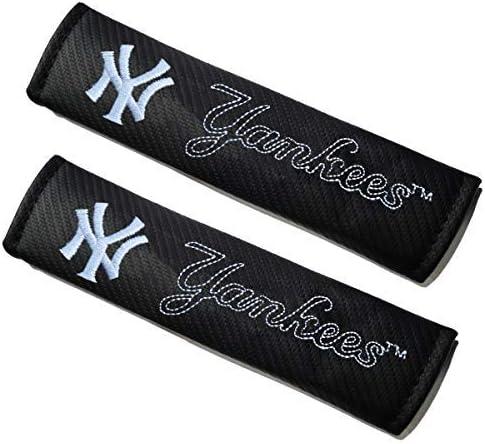 cargooghi 2Pcs Seat Belt Covers Shoulder Pads for Yankees Embroidered Team Logo Mattle Black Leather Car Seat Belt Pads Safety Belt Cover Pad for Yankees Fans