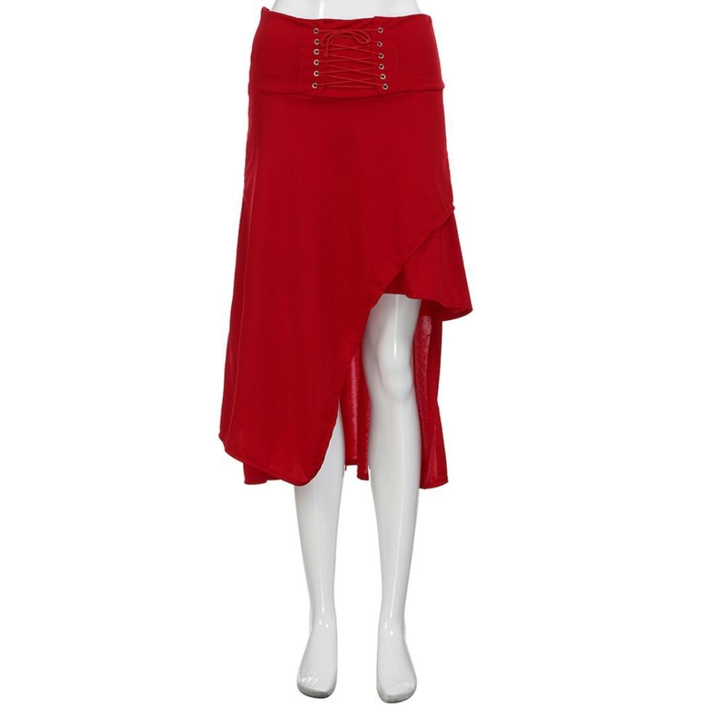 b07154abef Falda Gotica Mujer con Cordones Falda Lolita AsiméTrico Falda Larga Irregular  Vintage Faldas Altas De Cintura Color SóLido Verano  Amazon.es  Ropa y ...