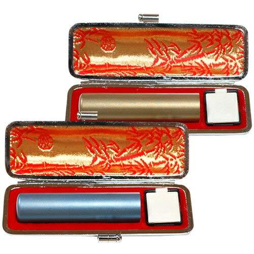 個人用カラーチタン印鑑マット黒モミケース付2本セット ライトブルー10.5mm/ゴールド15.0mm [tqb]   B00H8KC83W