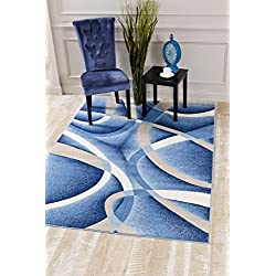 2305 Blue Swirls 5'2 x 7'2 Modern Abstract Area Rug Carpet