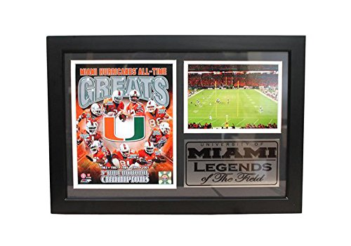 Encore Select 129-19 NCAA Miami Hurricanes Framed All-Time Greats Print, 12-Inch by 18-Inch -