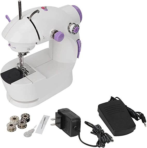 Portable Sewing Machine Mini Household Multi-Function Electric Sewing Machine with Light(White)