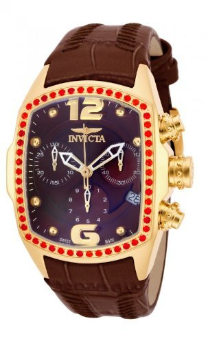 Invicta Women's Lupah Revolution Swiss Chrono Fire Opal Bezel Brown Leather Strap Watch 14827