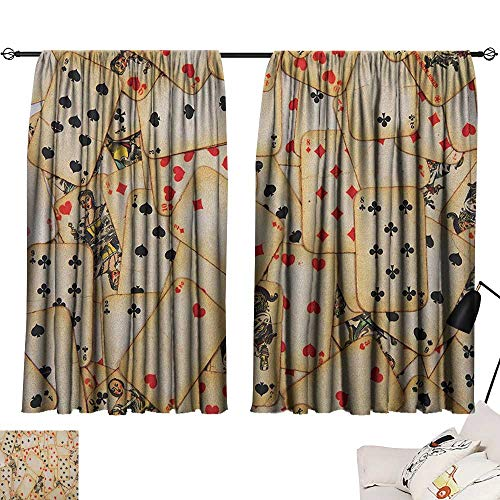 Denruny Tie Up Shades Rod Blackout Curtains Casino,Old Playing Cards Themed Vintage Classic Style Entertaining Wealth Fortune, Beige Red Black 84
