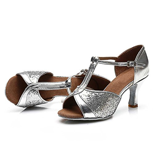 Women's Roymall Ballroom Shoes 7CM Latin Tango Performance Shoes 259 Model Silver Salsa Dance 6dpwpB