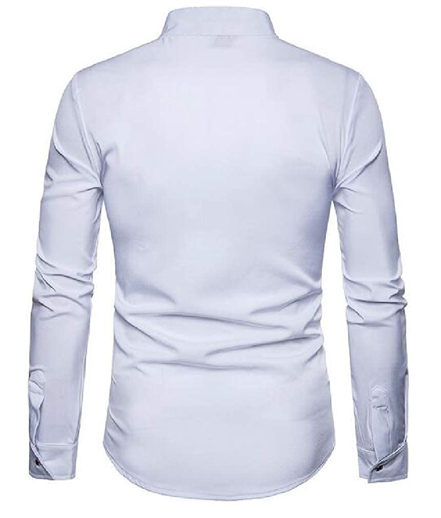 Lutratocro Mens Fashion Button Up Long Sleeve Slim Fit Embroidery Banded Collar Shirts