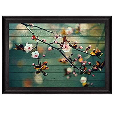 Charming Work of Art, Cherry Blossom Branch Over Teal Wooden Panels Nature Framed Art, Premium Product