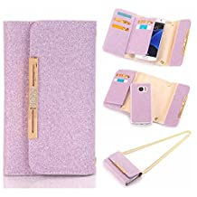 """For iPhone 6 Plus / iPhone 6S Plus Case, Karia Bling Glitter Diamond PU Leather Wallet Multi-functional Handbag Detachable Removable Magnetic Case with Flip Card Holder Cover for iPhone6 Plus/6S Plus 5.5"""" Purple"""