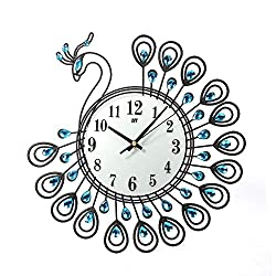 Clearance Sale!DEESEE(TM)Vintage Style Peacock Antique Wall Clock for Home Kitchen Office (Black)