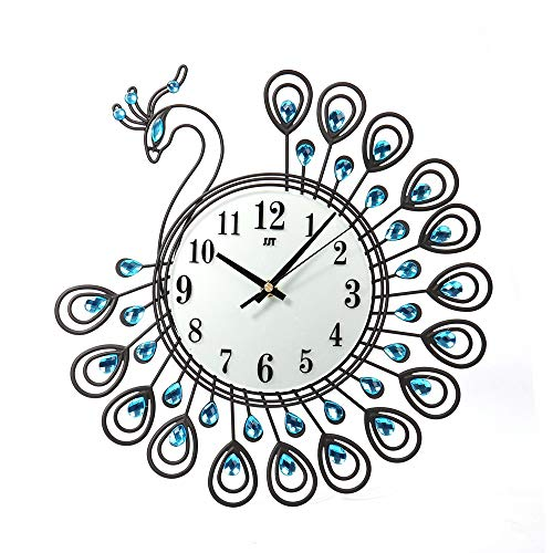 Benficial 146x158 inchVintage Style Peacock Antique Wall Clock for Home Kitchen Office Black