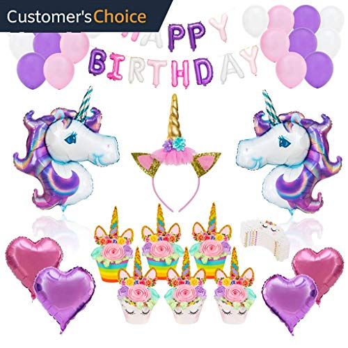 UNICORN PARTY SUPPLIES DECORATIONS- 12 guests Complete Set Cake Cupcake Toppers, Gold Headband, Helium Foil Balloons, Heart Balloons, Happy Birthday Banner, Gifts, Favors For Girl First 1st Birthday]()