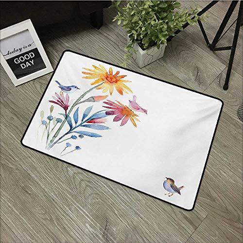Anzhutwelve Watercolor,Doormats Springtime Flowers with Birds Unusual Color Scheme Brush Effect W 20