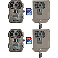 Stealth Cam 10MP Video IR Scouting Game Trail Camera, 2 Pack + Cases & SD Cards