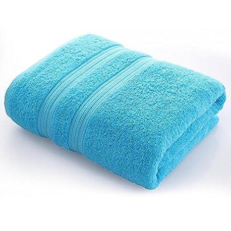 Dreamingces-Toallas De Baño Puras Bandas De Colores Blue 80*160Cm Ultra Suave Y