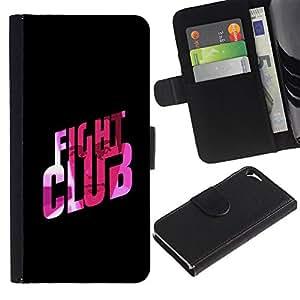 iKiki Tech / Cartera Funda Carcasa - Fight Club Quote Slogan Pink Bling - Apple iPhone 5 / 5S