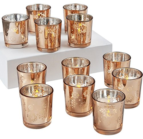 HVS Mercury Snowflake Glass Votive Holder Rose Gold Set of 12, 2-2/3-Inch tall (Snowflake Votive)