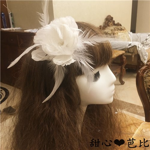 usongs Korea imported white feather bridal hair accessories flower hair clips hair accessories stage performances Kadi Li Reba same paragraph