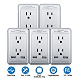 TOSSOW 2 AC Wall Outlet with Dual USB Ports 2.5A Surge Protector Wall Mount Plate Fast/Quick Charger with LED Indicator, Smart Multi USB Charger Wall Plug,UL Certified, Silver (5 Pack)